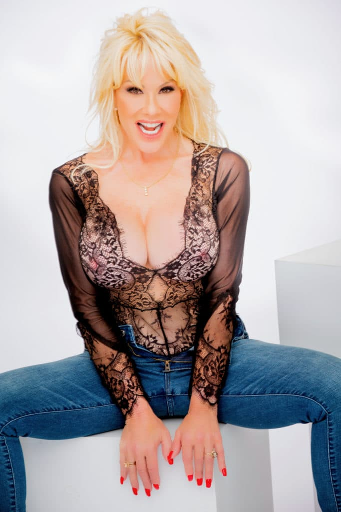 Air Force Amy Glamour Images in Black lace Teddy and Sexy Tight Blue Jeans